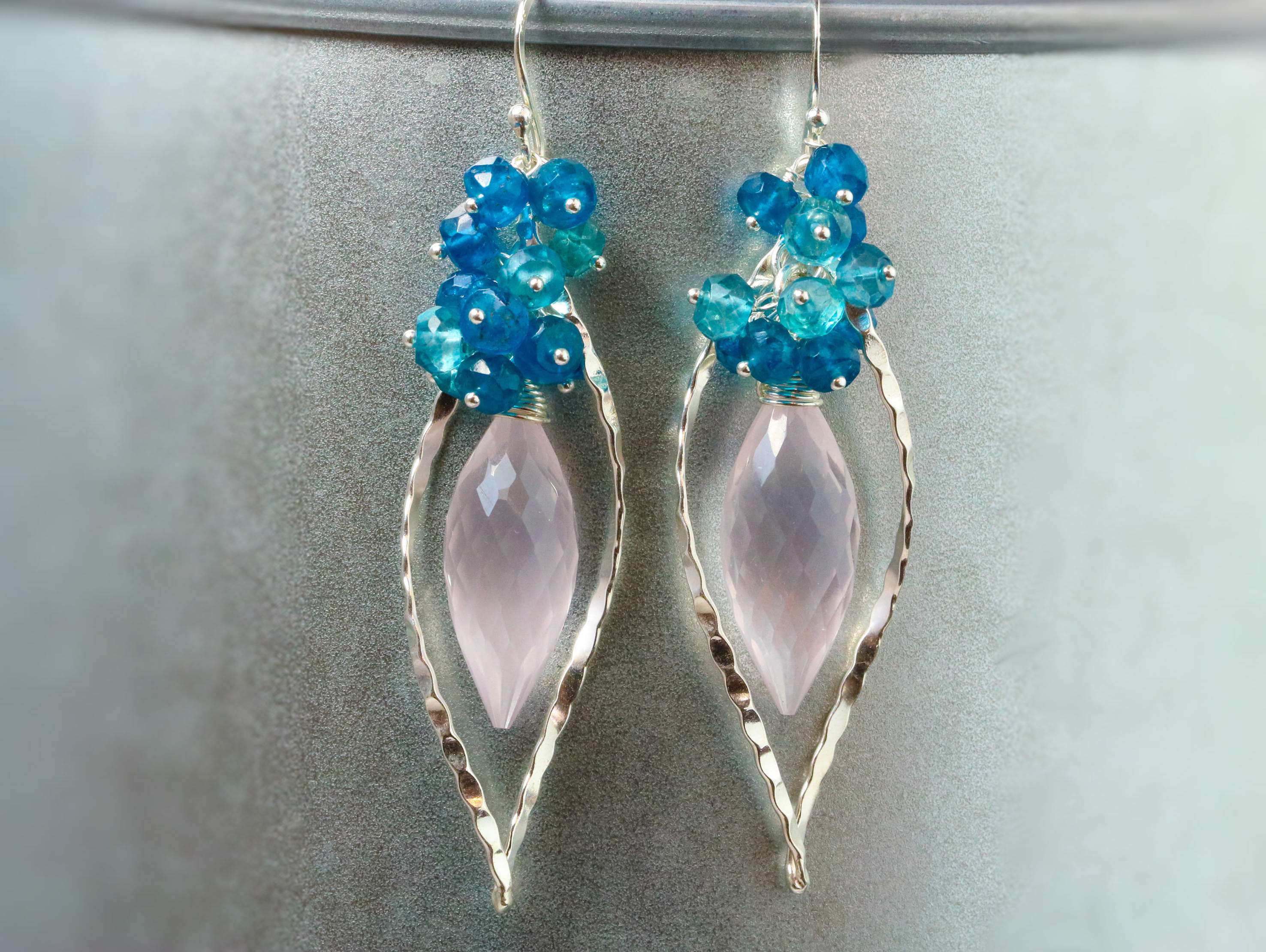 earrings kyanite apatite tulip design and blue sapphires cluster the topaz gemstone