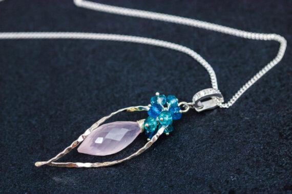 Rose Quartz, Neon Blue Apatite and London Blue Topaz Silver Dangle Earrings