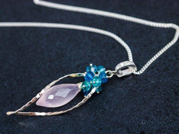 Rose Quartz, Neon Blue Apatite and London Blue Topaz Silver Pendant Necklace