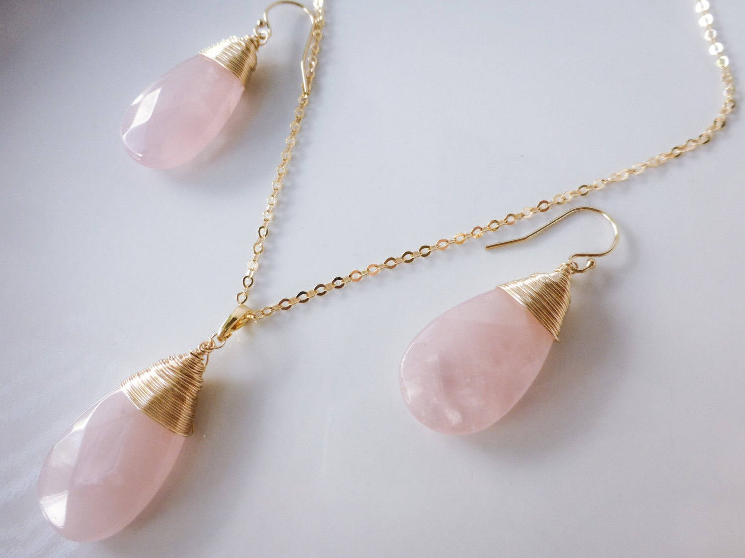 Rose Quartz Wire Wrapped Large Pendant Necklace in Gold Filled ...