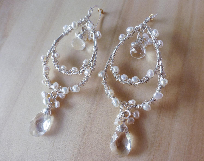 Silver Pearl Chandelier Earrings - Valltasy