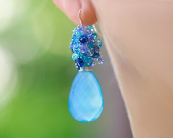 Sky Blue Chalcedony Cluster Earrings with Kyanite, Topaz, Tanzanite and Apatite
