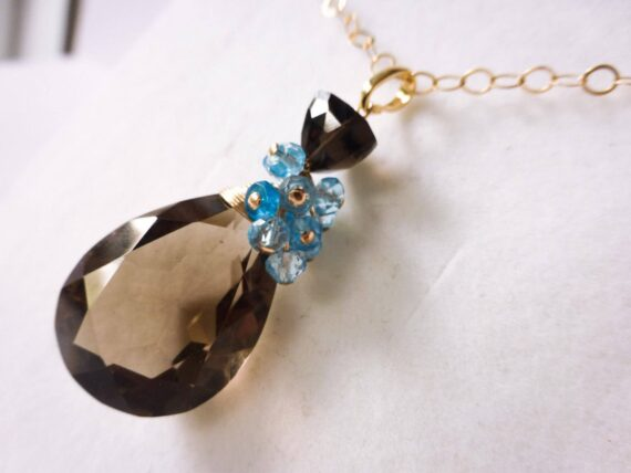 Smoky Quartz Large Pendant with Blue Topaz and Blue Apatite Gemstones in Gold Filled