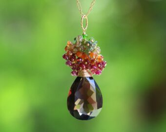Smoky Quartz Long Pendant Necklace in Gold Filled with a Multi Gemstone Cluster