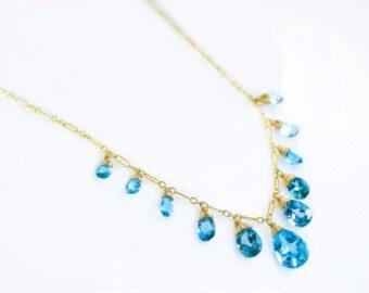 Swiss Blue Topaz Statement Bib Necklace in Gold Filled