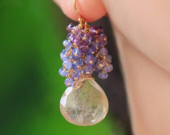 Tazanite and Amethyst Cluster Earrings with Golden Rutilated Quartz in Gold Filled