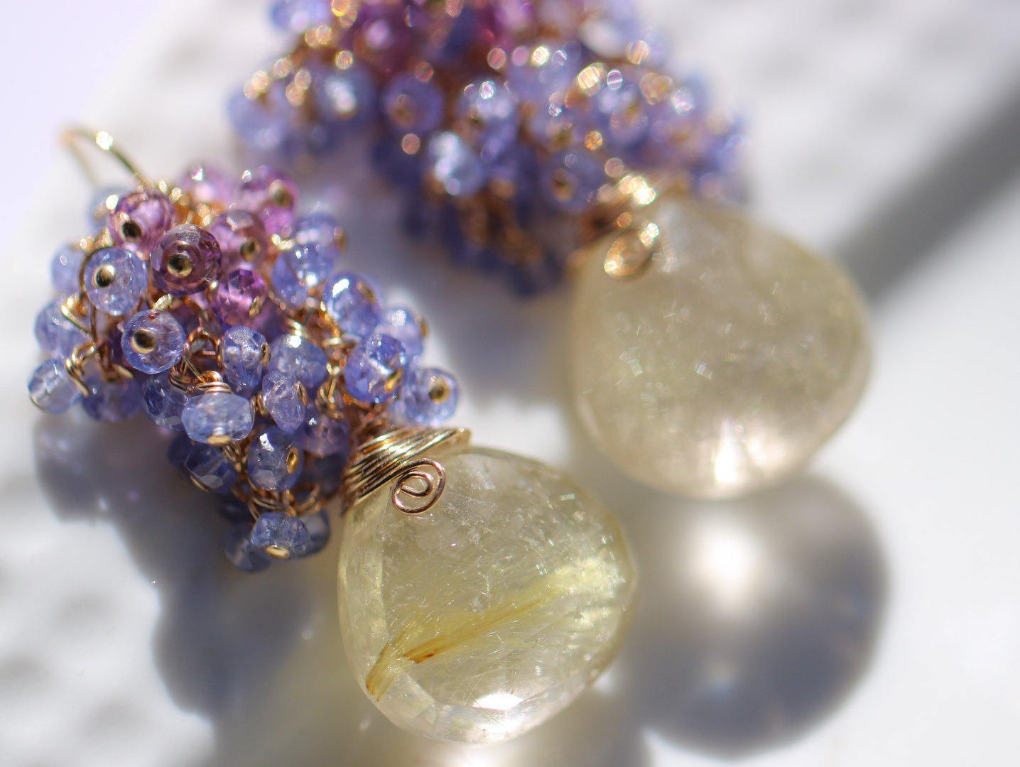 Golden Rutilated Quartz Jewelry Of Tazanite And Amethyst Cluster Earrings With Golden