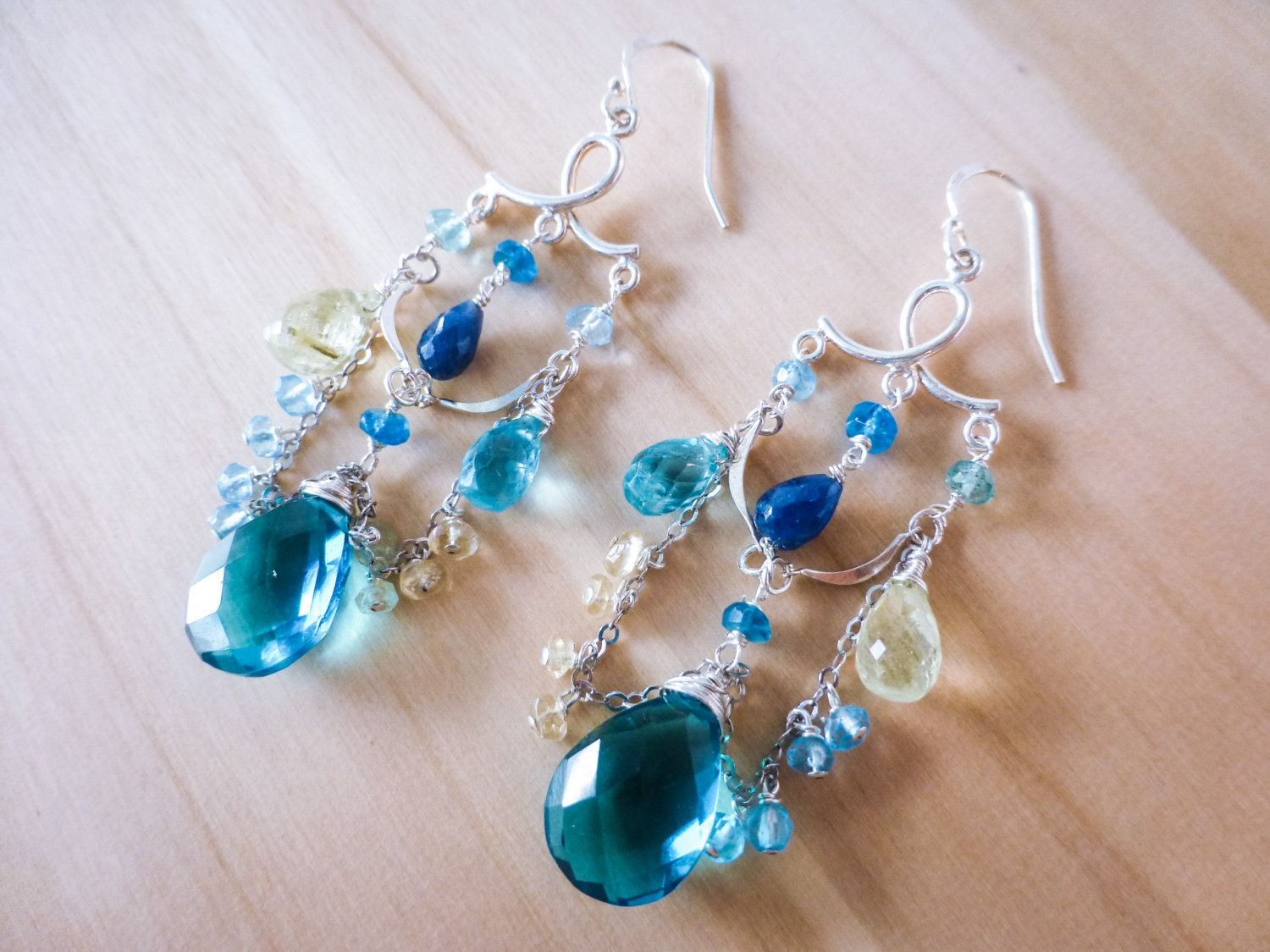 Teal blue topaz quartz with aquamarine and sapphires chandelier the bluebell earrings teal blue topaz quartz with aquamarine and sapphires chandelier earrings in silver mozeypictures Images