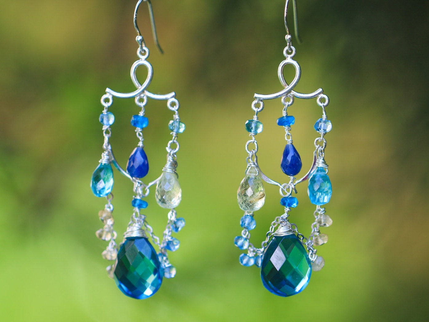 Teal blue topaz quartz with aquamarine and sapphires chandelier 11466 mozeypictures Images