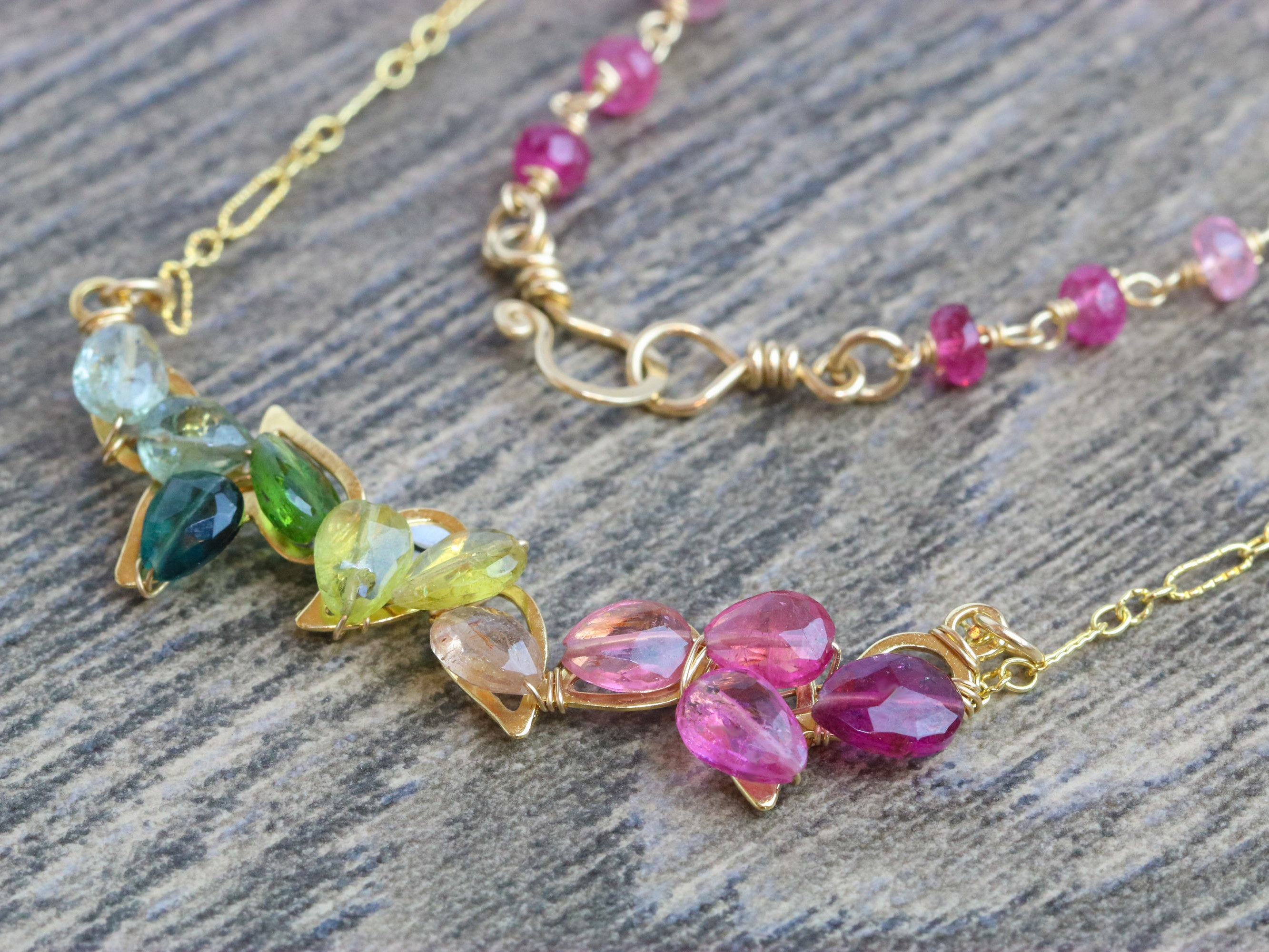 Watermelon Tourmaline Bar Necklace Wire Wrapped in Gold Filled ...