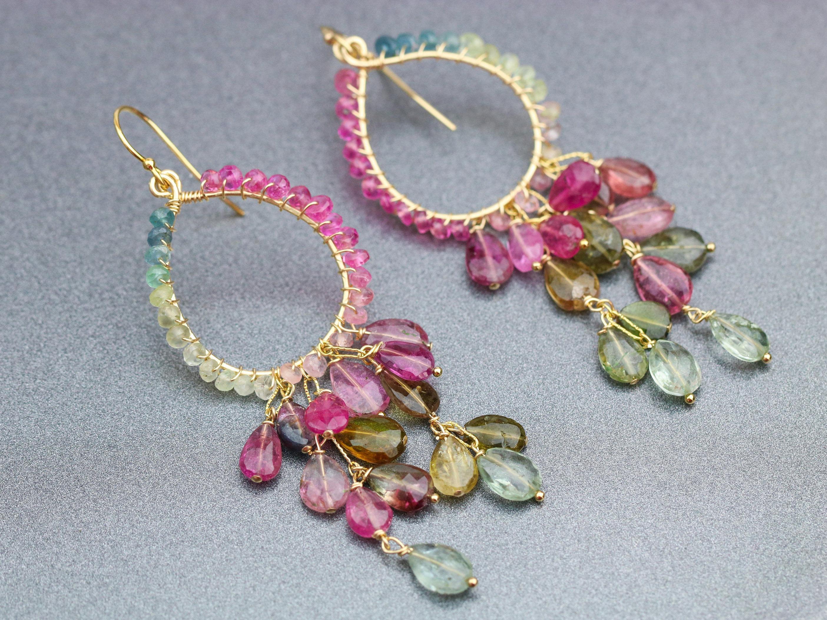 Watermelon Tourmaline Chandelier Earrings in Gold Filled - Valltasy
