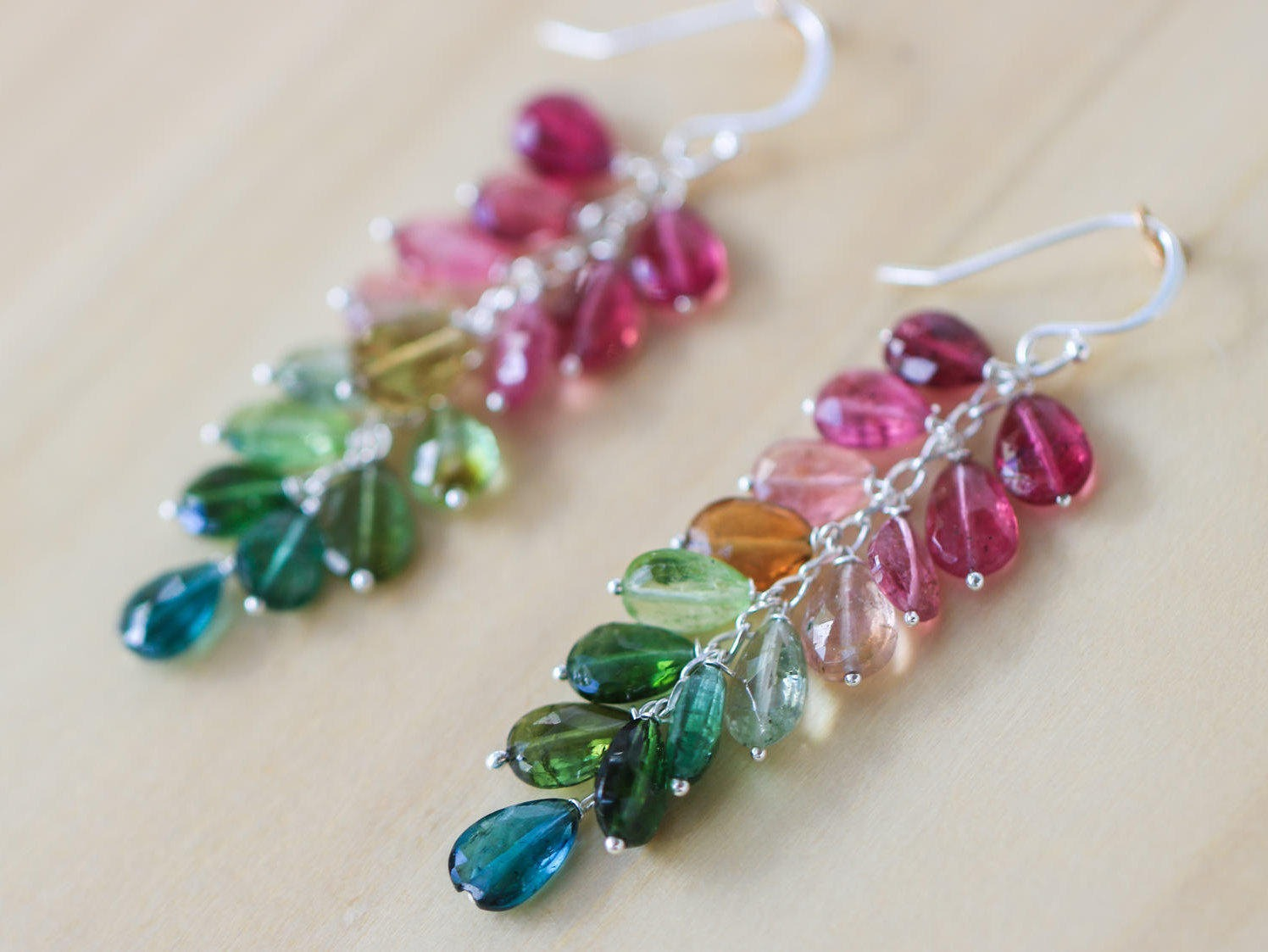 hsn earrings d argento vivo tourmaline bead multicolor drop shop