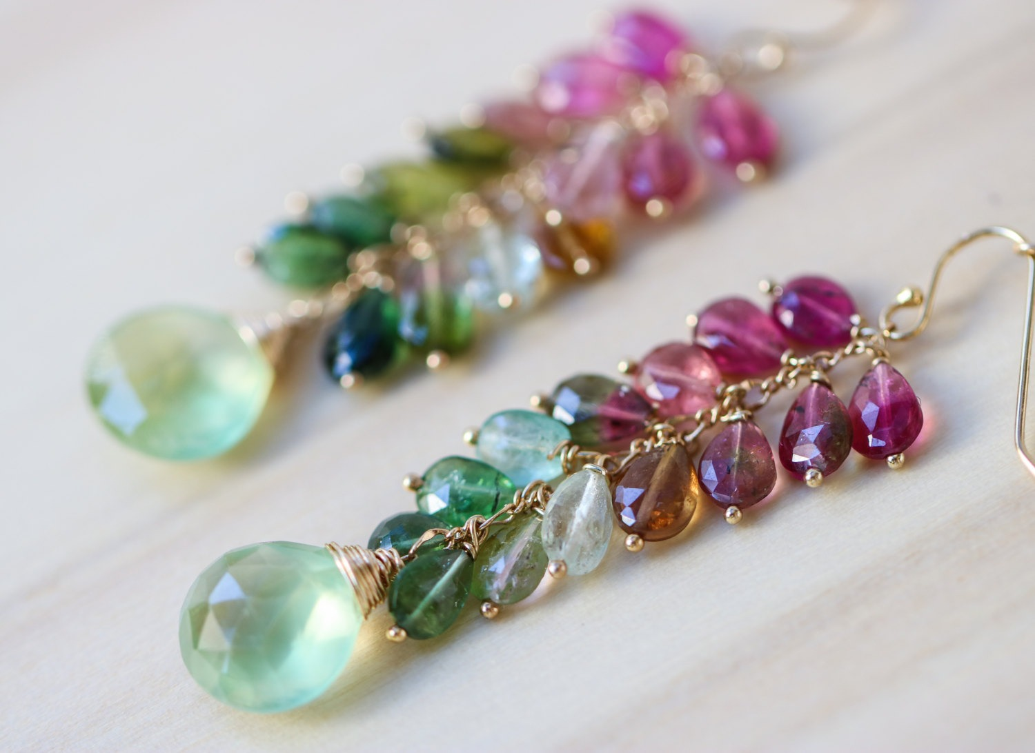 Watermelon Tourmaline Earrings in Gold Filled with ...