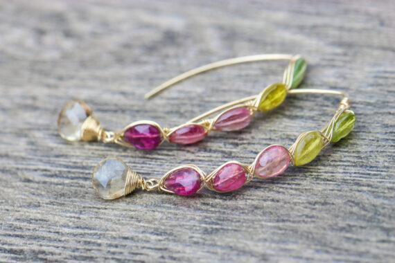Watermelon Tourmaline Open Hoop Threader Earrings Wire Wrapped in Gold Filled