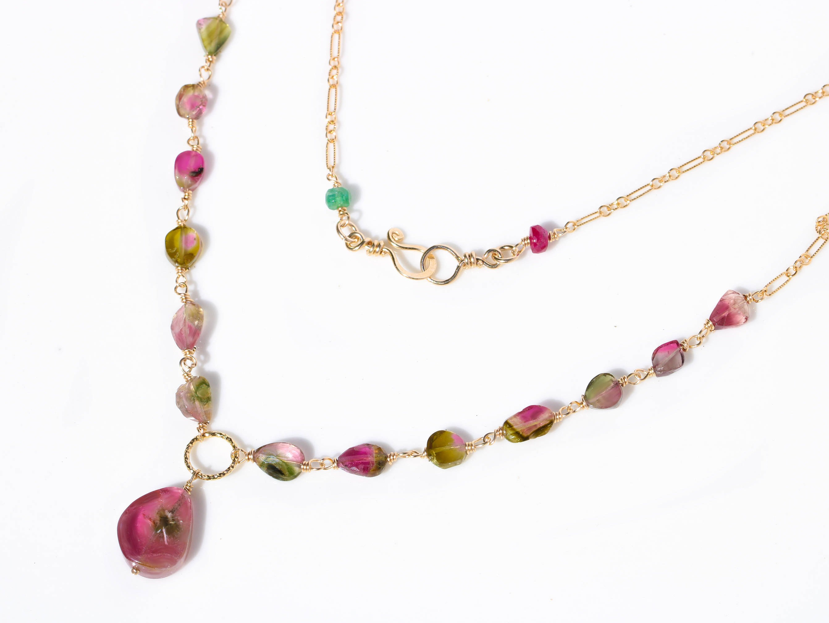 Watermelon Tourmaline Slice Necklace Wire Wrapped in Gold Filled ...