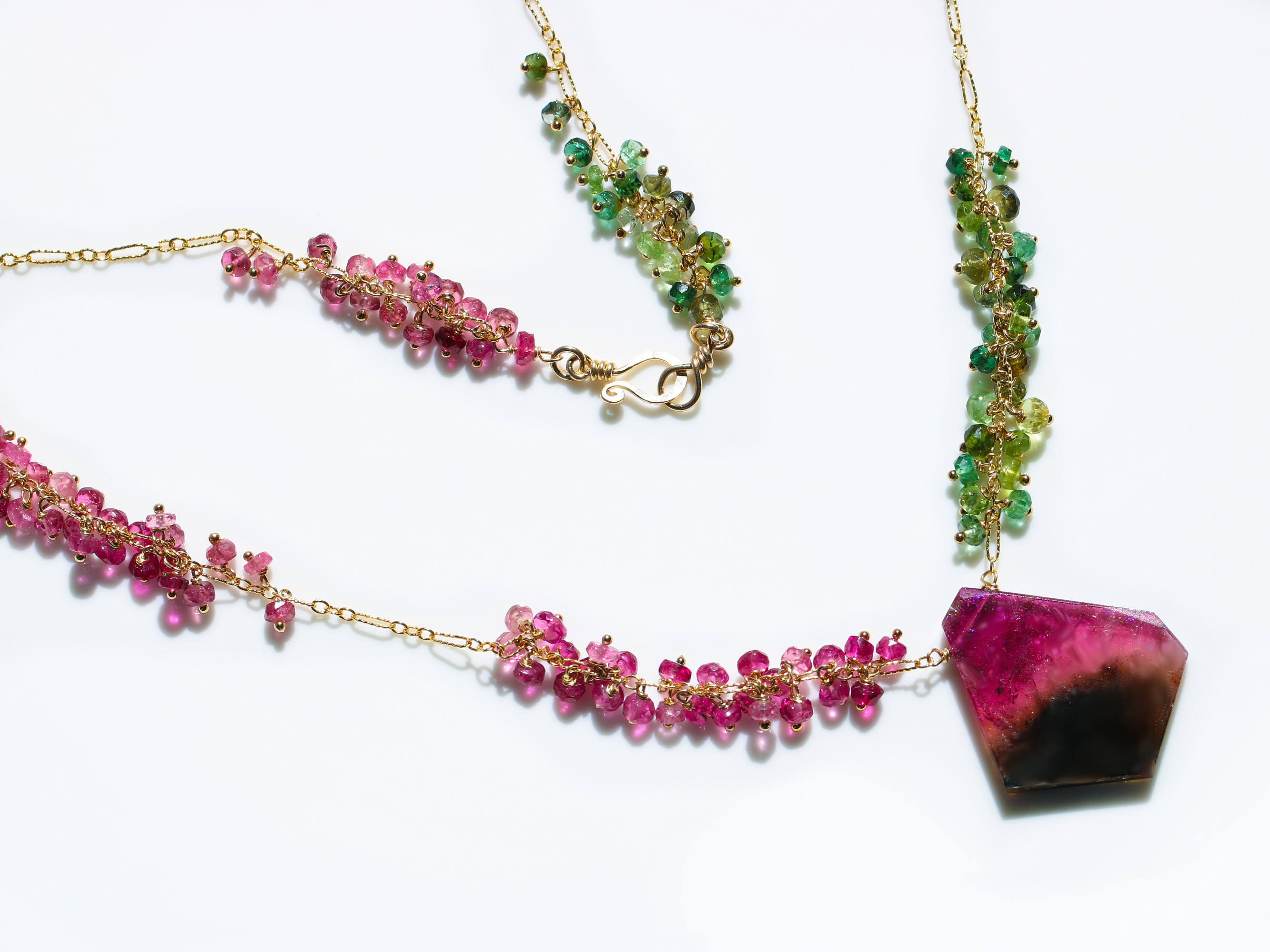 watermelon tourmaline slice necklace with pink and green