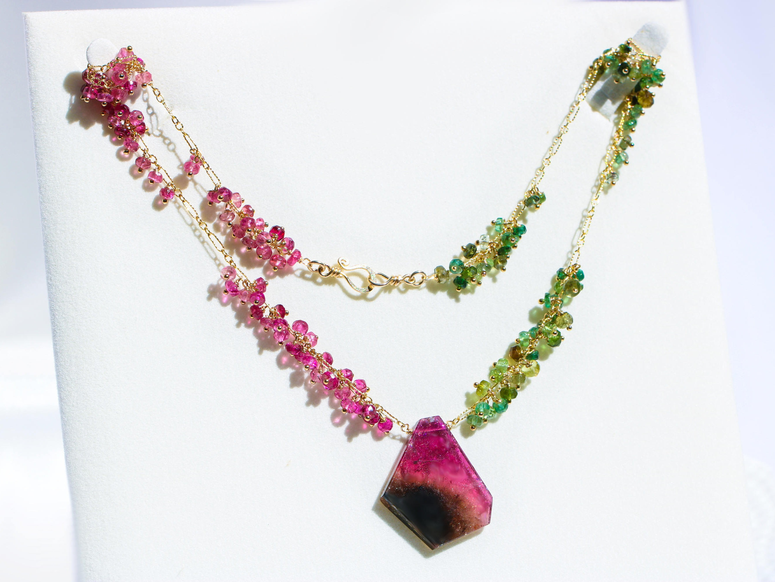 pink beads watermelon bead necklace pendant on stunning faceted tourmaline
