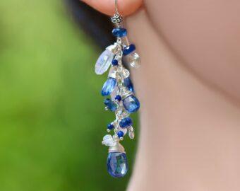 Blue Kyanite and Rainbow Moonstone Dangle Earrings in Silver