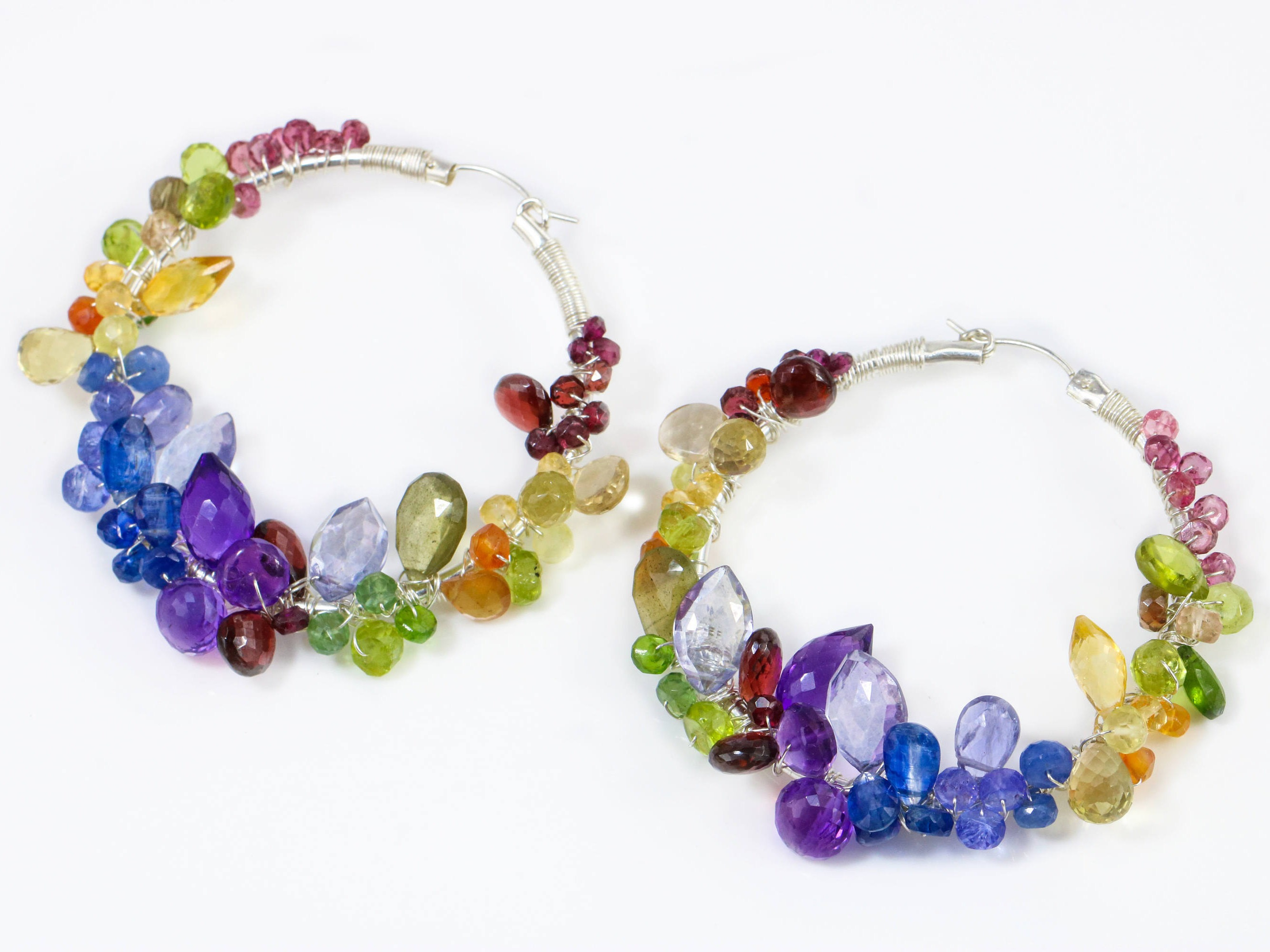 natural sapphires dangle the rainbow crystals sapphire rock with earrings multi statement statemnet design crustals