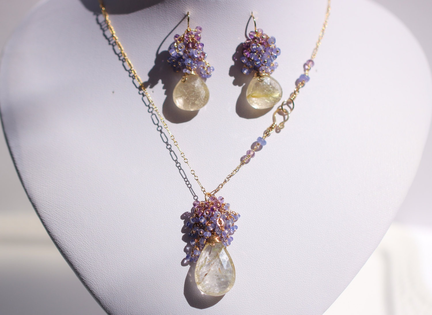 Tanzanite and amethyst with golden rutilated quartz for Golden rutilated quartz jewelry