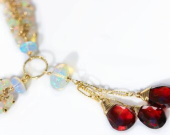 Semi Precious Gemstone Necklace with Red Garnet and Ethiopian Opals