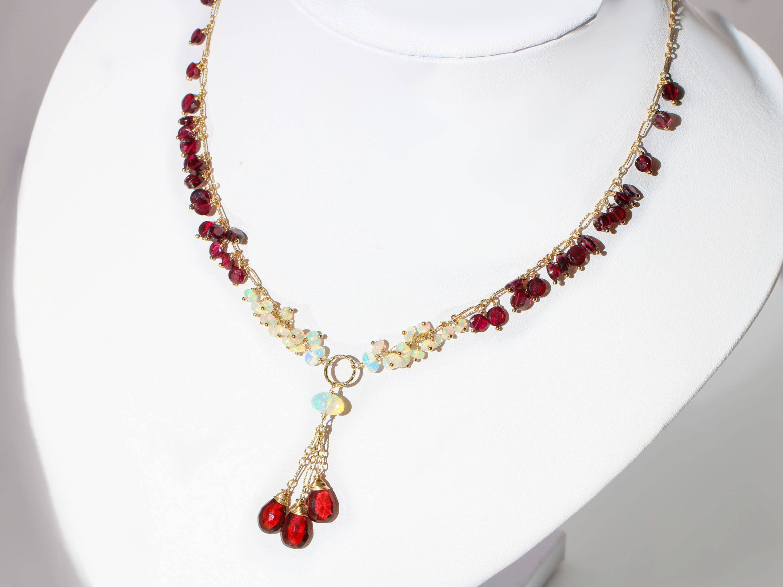 jasper red crystal pendant vaults necklace