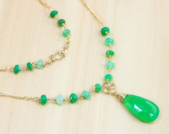 Green Chrysoprase Statement Rosary Necklace in Gold Filled