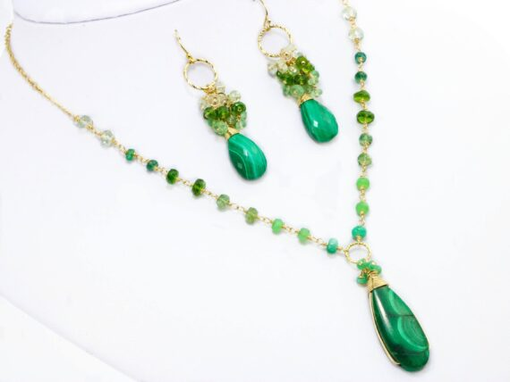 Luxury Malachite Necklace with Emeralds, Statement Rosary Necklace in Gold Filled