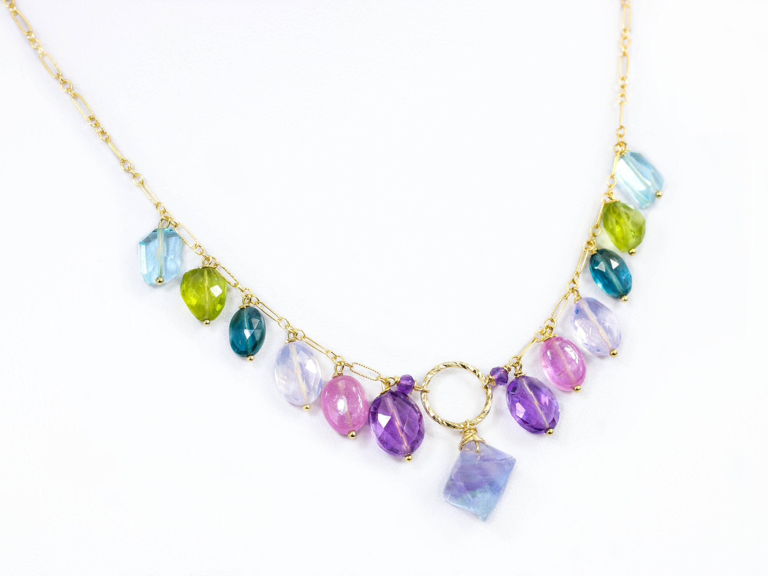 collections gemstone necklace print finish stone karlas layering rainbow multi products dainty