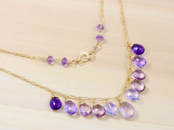Pink Purple Gemstone Necklace in Gold Filled with Rose Quartz, Pink Topaz and Amethyst