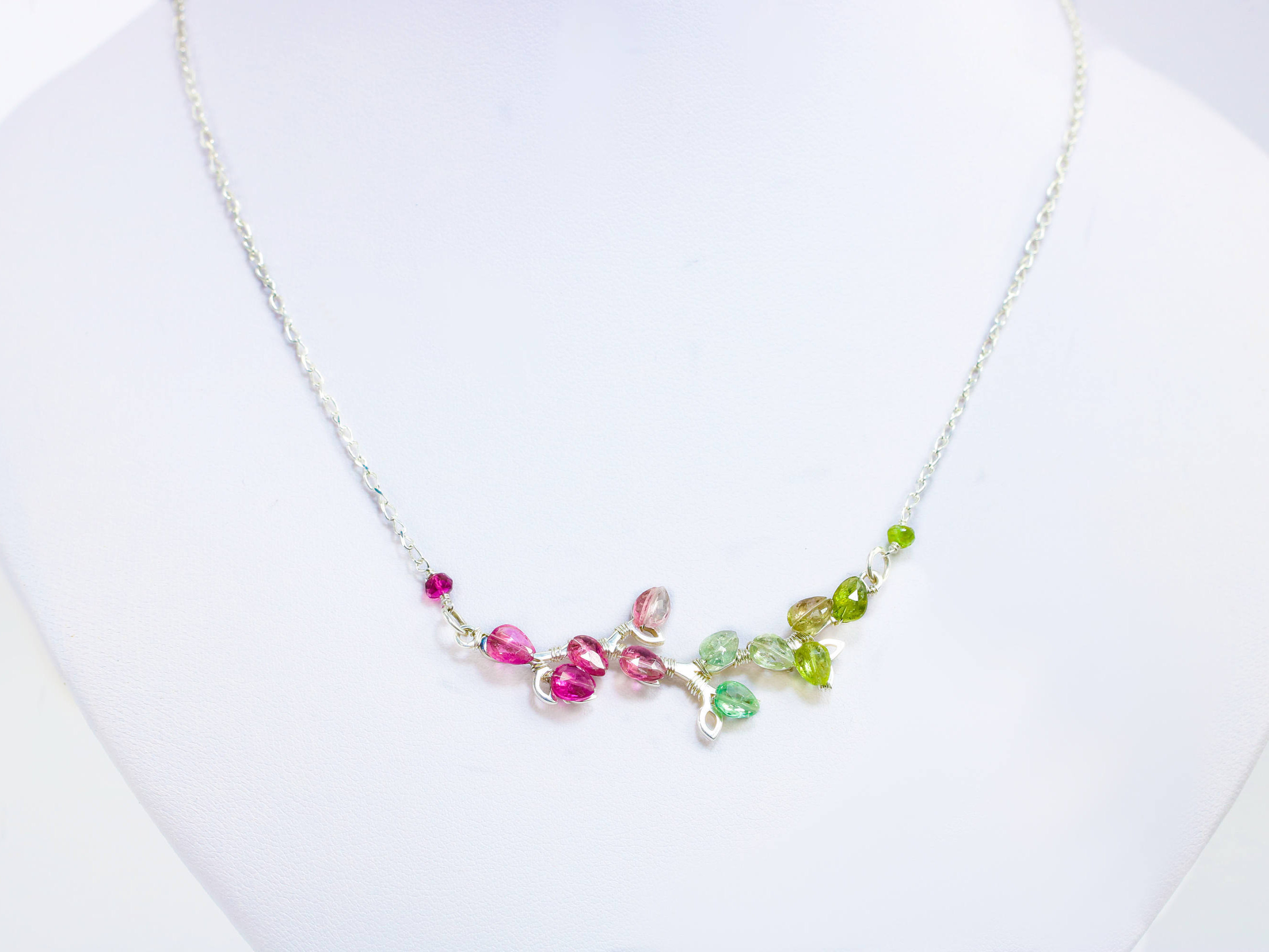 silver tourmaline in necklace pendant sterling pink