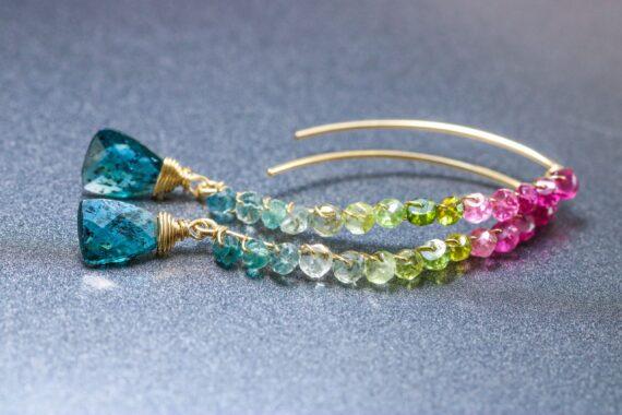 Watermelon Tourmaline and Moss Kyanite Earrings, Handmade Open Hoop Gold Filled Earrings with Gemstone Drops