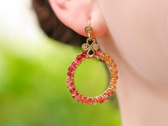 Orange and Red Songea Sapphires Wire Wrapped Hoop Earrings in Gold Filled, Artisan Earrings