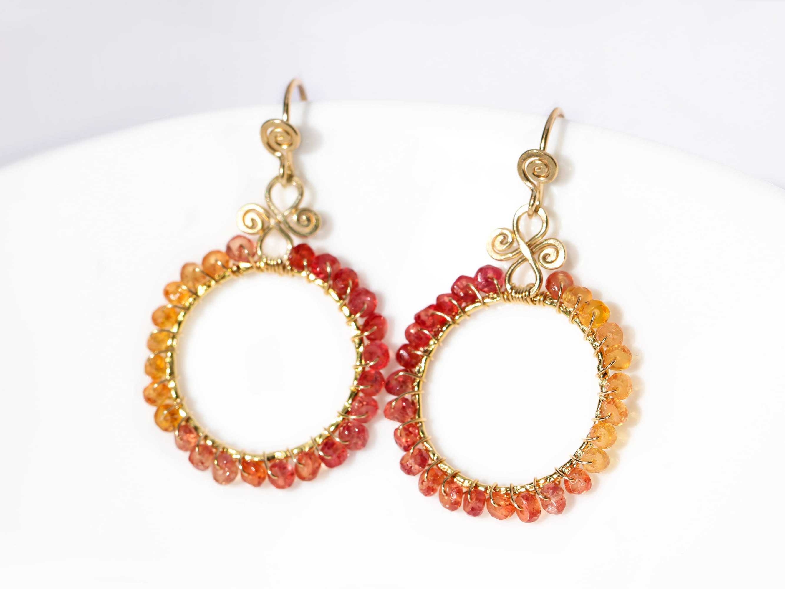 Orange and Red Songea Sapphires Wire Wrapped Hoop Earrings in Gold ...