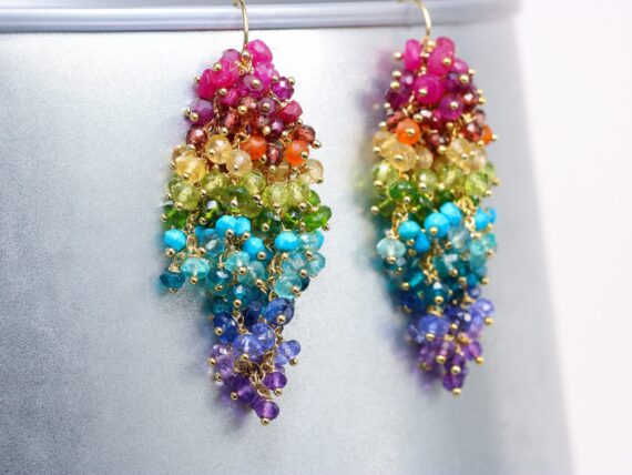 Colorful Rainbow Cluster Earrings, Gemstone Gold Filled Statement Earrings