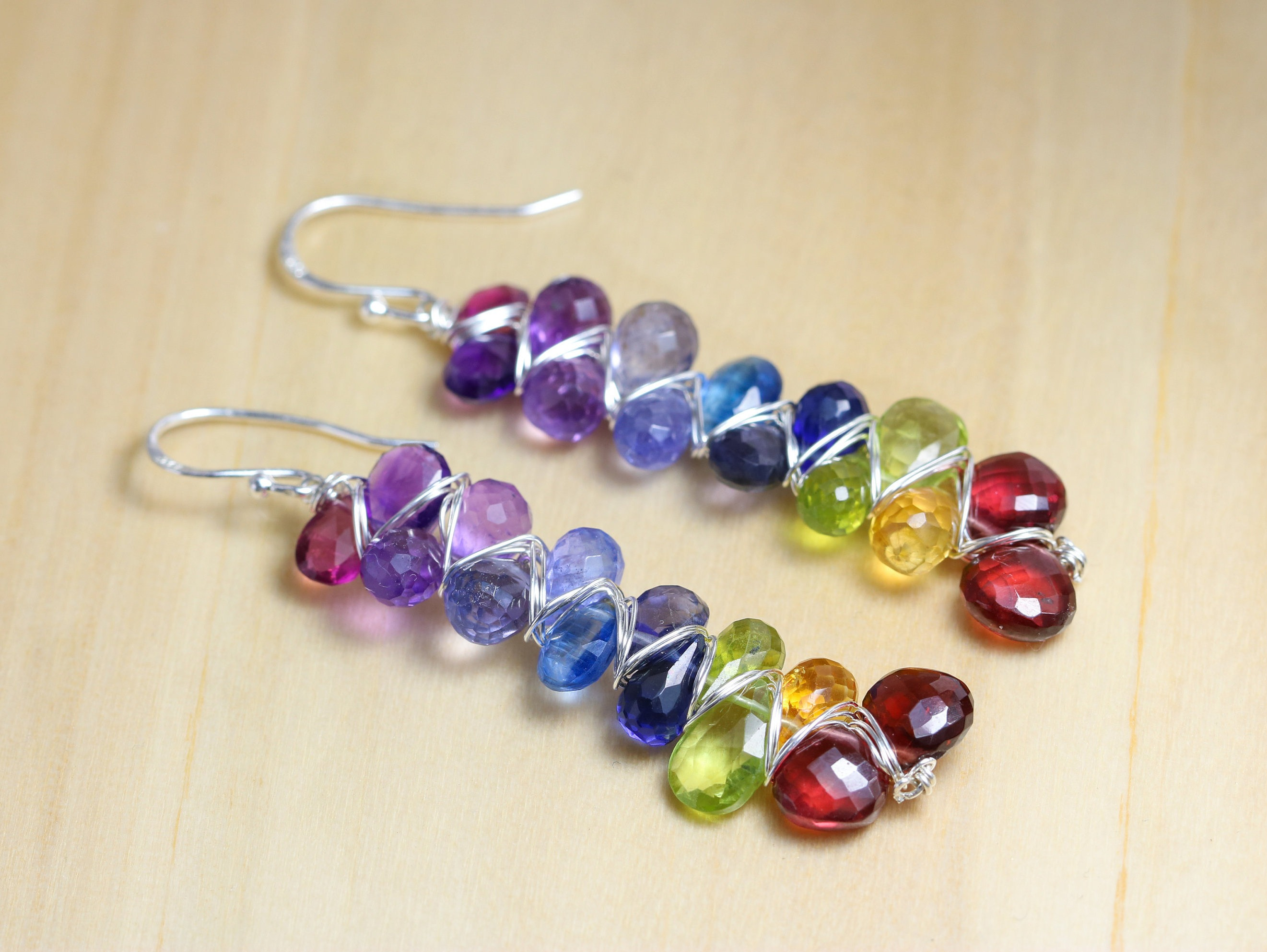 gemstone semi silver precious earrings woven multi in rainbow caymancode