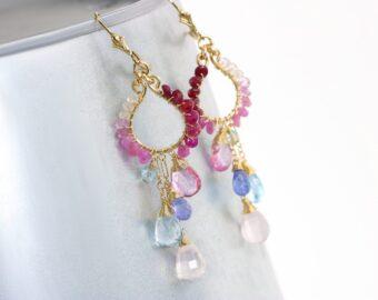 Pink and Blue Topaz Chandelier Earrings, Pink Ruby Wire Wrapped Gemstone Earrings