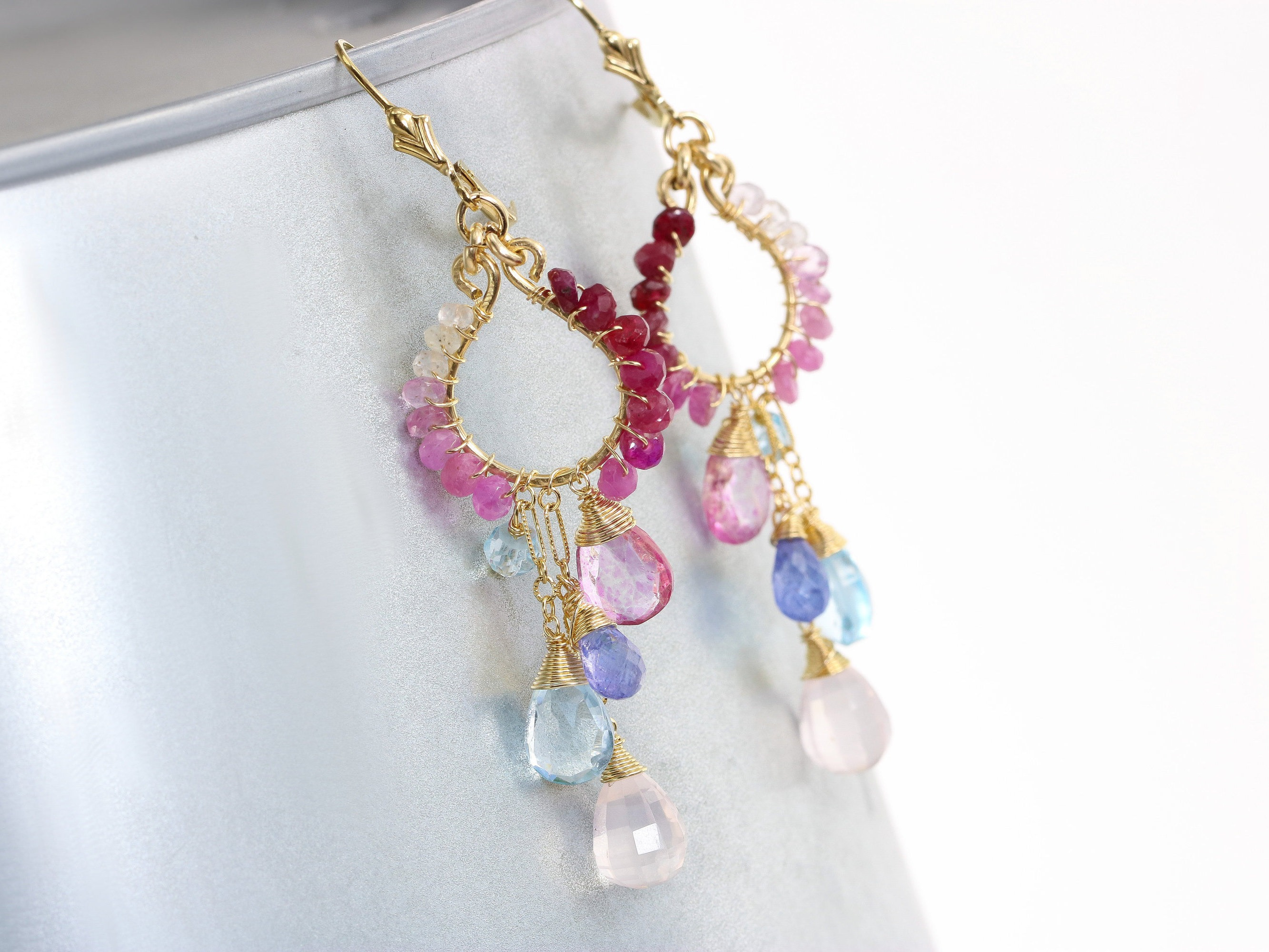 Pink and blue topaz chandelier earrings pink ruby wire wrapped the orchid blossom earrings pink and blue topaz chandelier earrings pink ruby wire wrapped gemstone earrings aloadofball Image collections