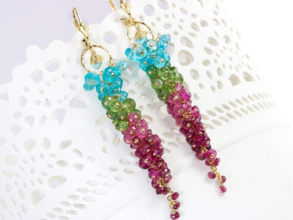 Pink Tourmaline with Green Kyanite and Blue Apatite Long Cluster Statement Earrings in Gold Filled
