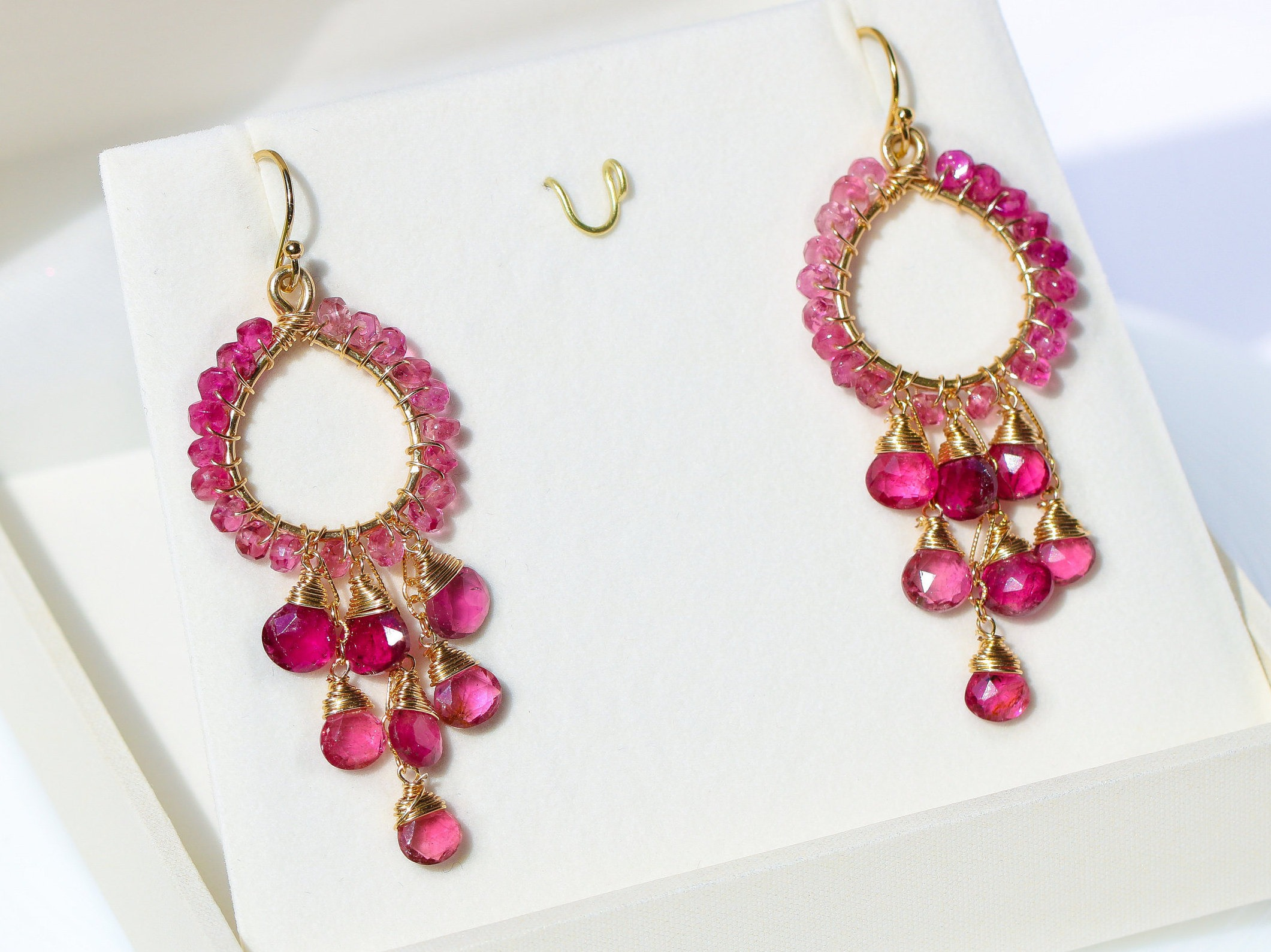 Rubellite Pink Tourmaline Chandelier Earrings in Gold Filled, Wire ...
