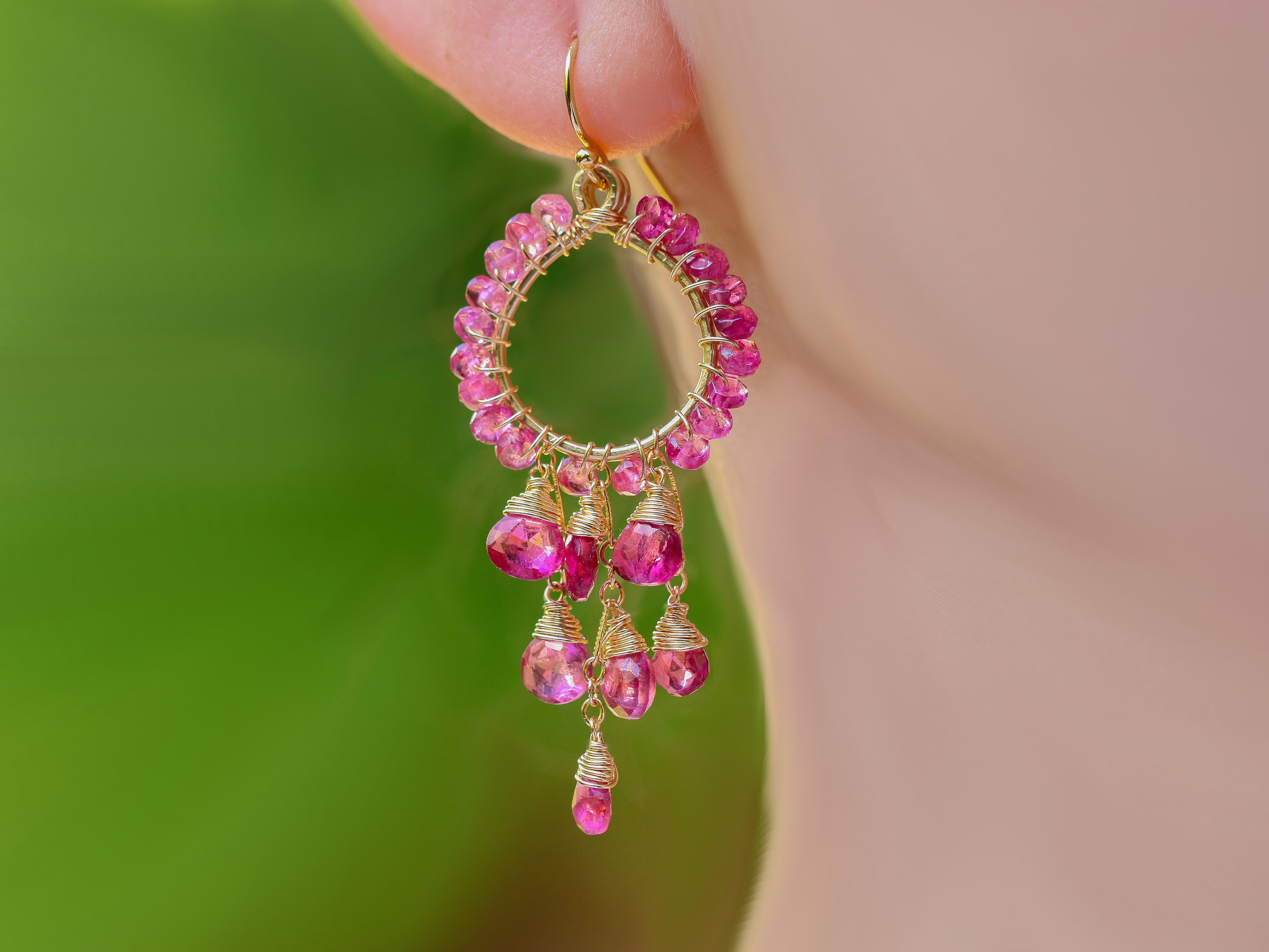 Rubellite pink tourmaline chandelier earrings in gold filled wire 20241 mozeypictures Gallery