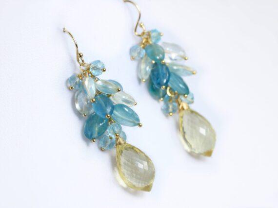 Santa Maria Blue Aquamarine Cluster Earrings with Scapolite, Elegant Statement Earrings