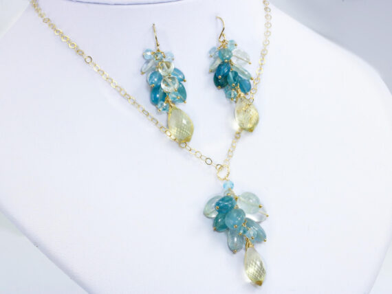 Santa Maria Blue Aquamarine Earrings and Necklace with Scapolite, Elegant Statement Gemstone Set