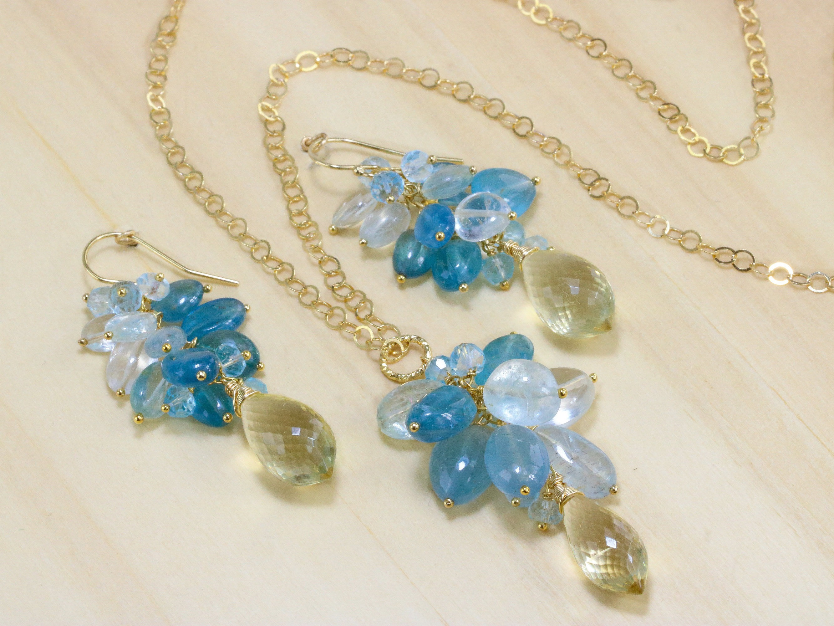 Santa maria blue aquamarine earrings and necklace with for Santa maria jewelry company