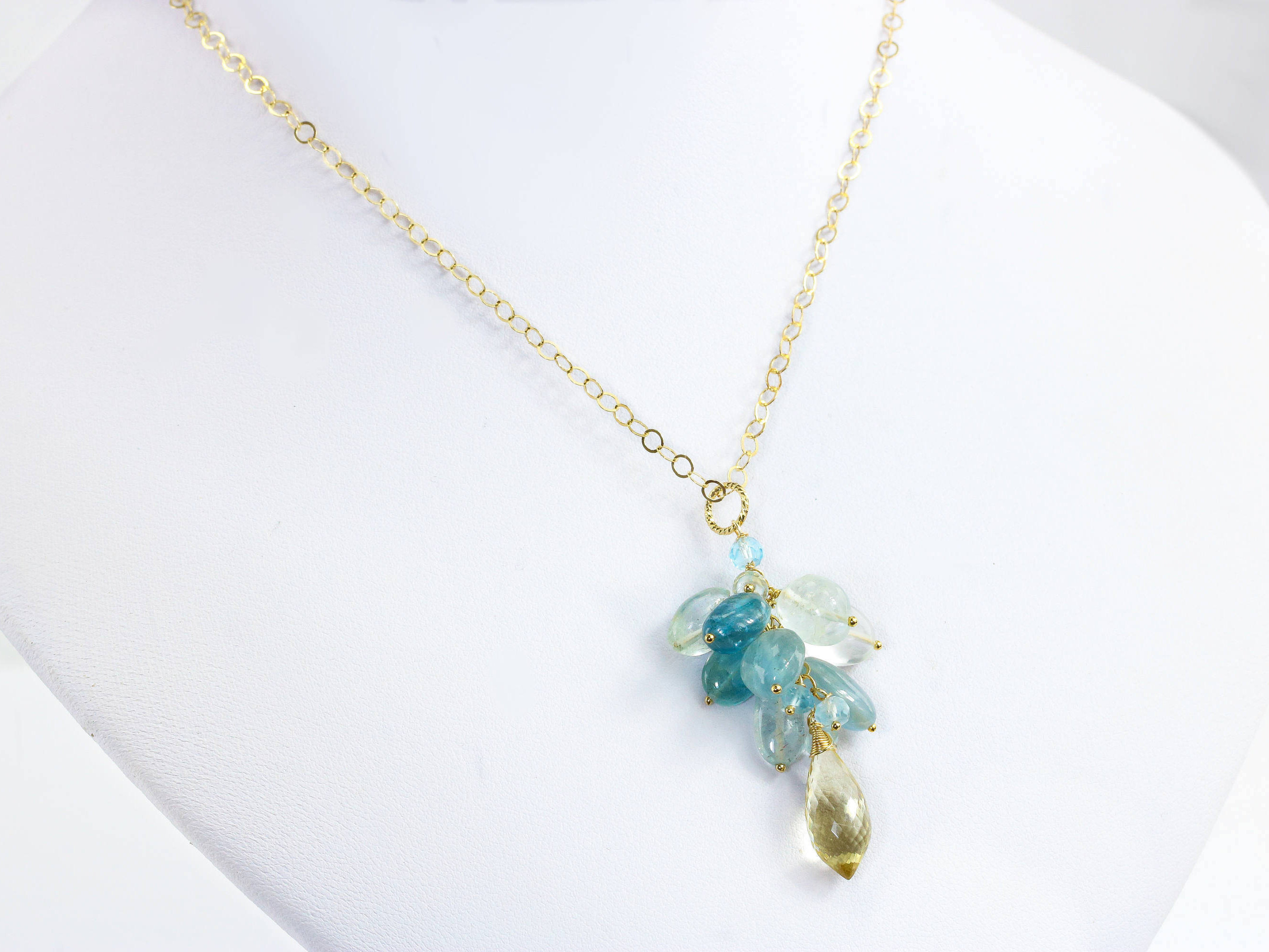 necklace in aquamarine pendant sterling silver maine