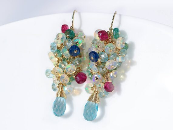 Ethiopian Opal Short Cluster Earrings, Statement Earrings with Paraiba Tourmaline, Pink Tourmaline and Aquamarine