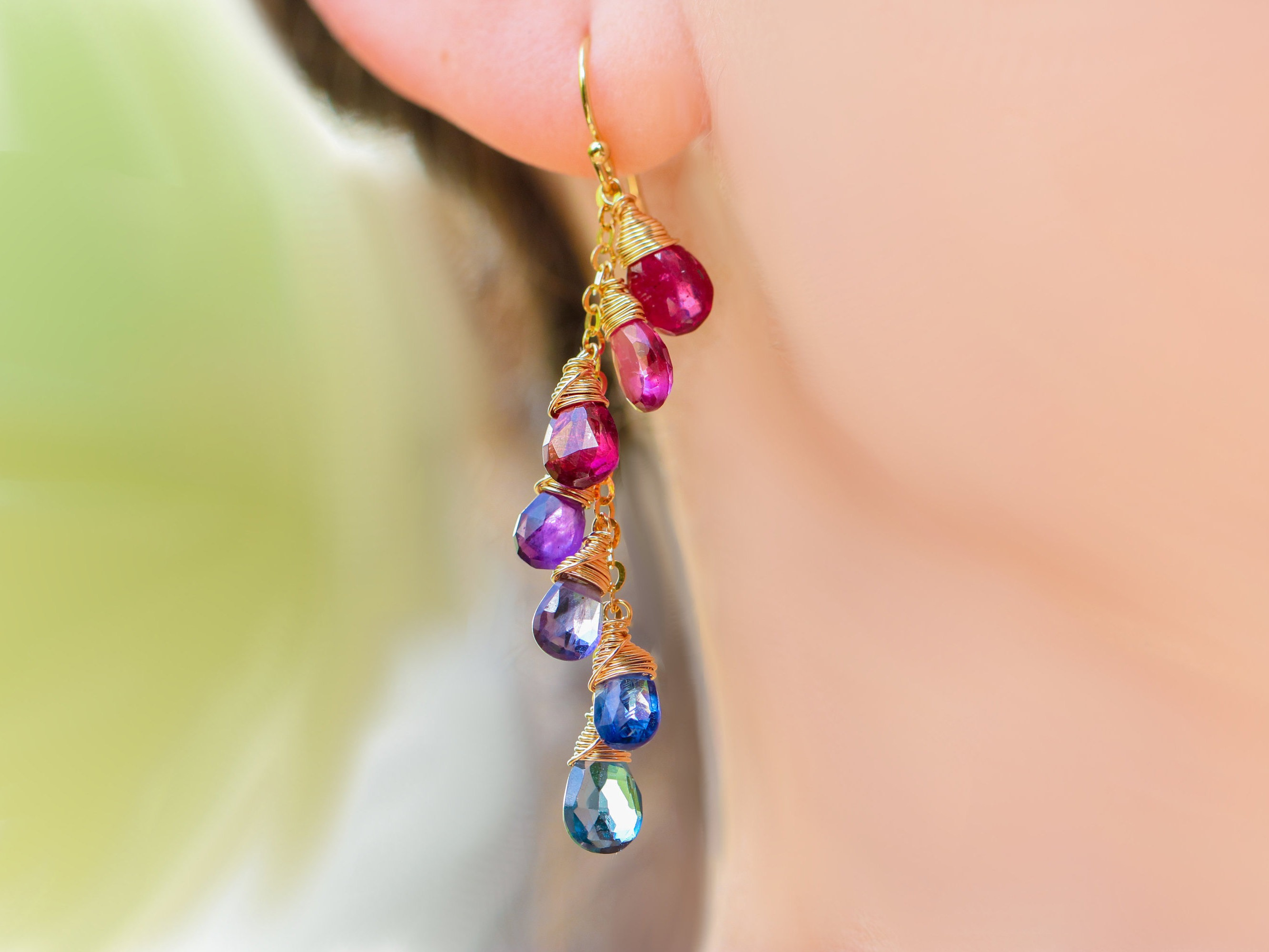 wire multi design rainbow dream gemstone my in wrapped gold filled colorful wild earrings