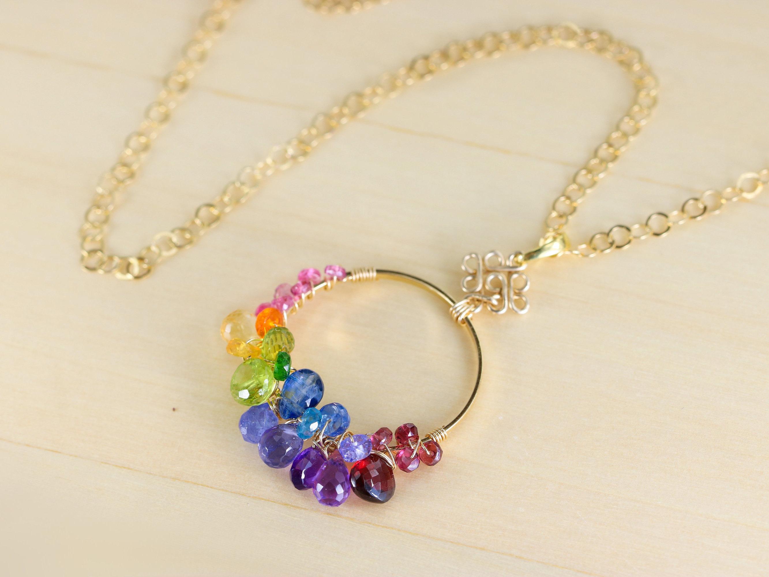 Multi gemstone hoop pendant necklace in gold filled valltasy the felicity pendant multi gemstone hoop pendant necklace in gold filled aloadofball Choice Image