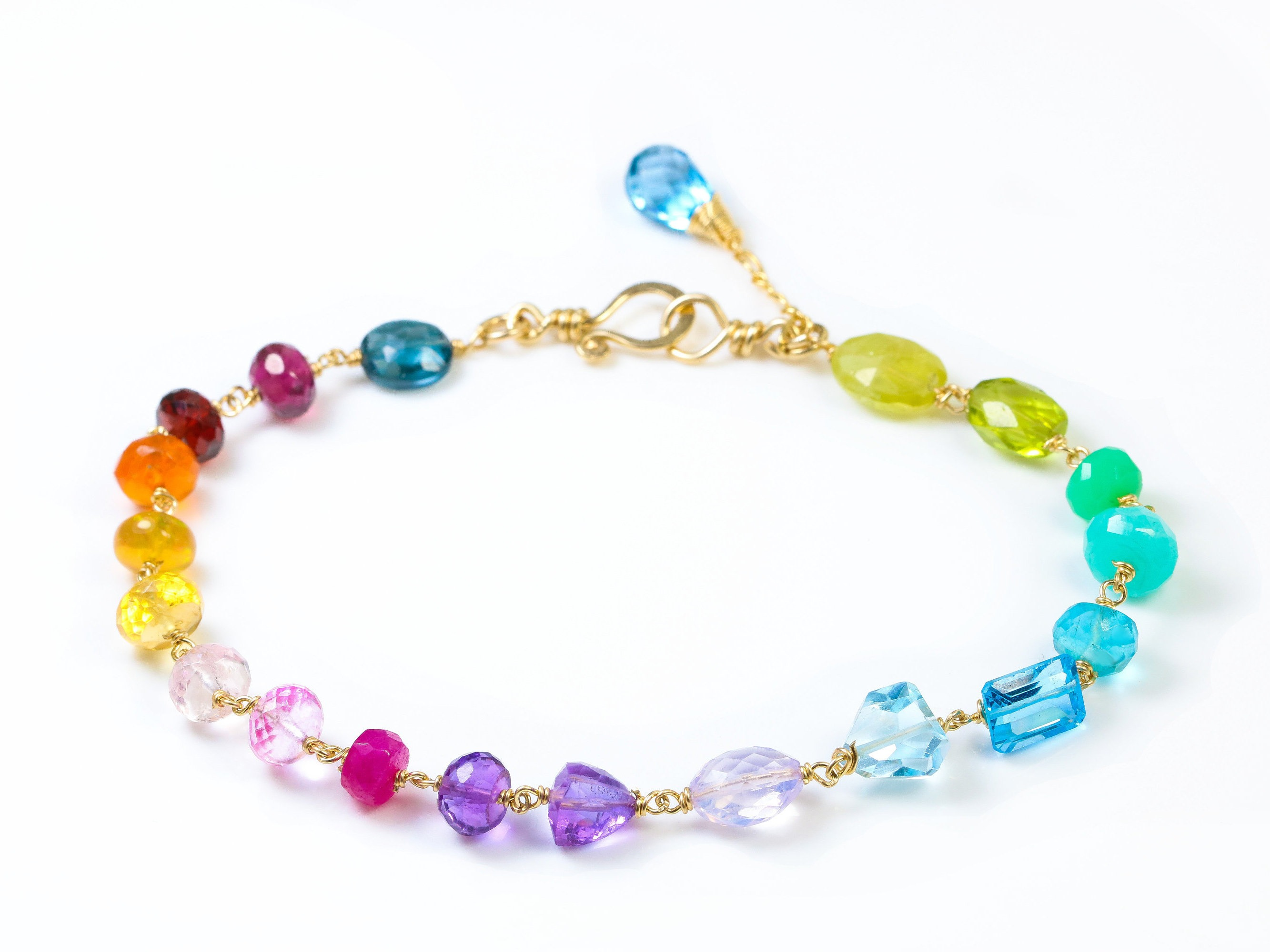 Rainbow Precious Gemstone Bracelet Wire Wrapped in Gold Filled ...