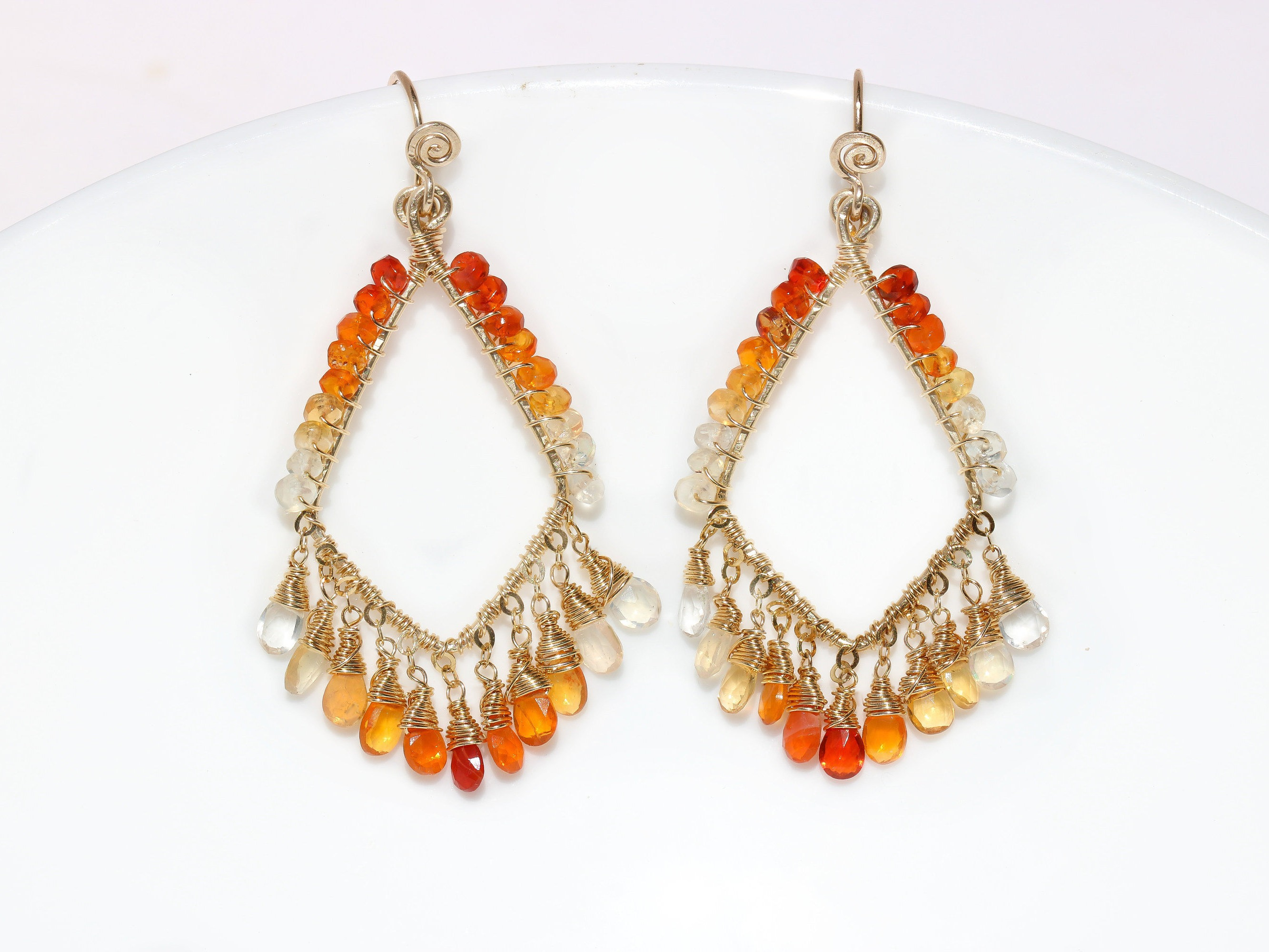 Mexican fire opal artisan chandelier earrings in gold filled one of la rumba earrings mexican fire opal artisan chandelier earrings in gold filled one of a kind mozeypictures Images